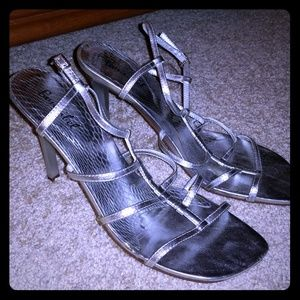 Bonnibel metallic silver strappy heels